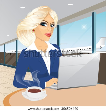 beautiful young blonde businesswoman working at laptop in restaurant and drinking a coffee at airport - stock vector