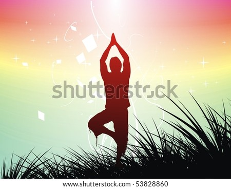 Beautiful young boy doing yoga exercise outdoors , vector illustration. - stock vector