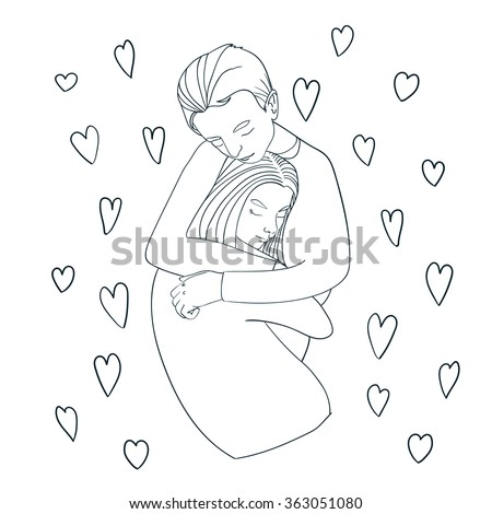 Beautiful young couple in love making a passionate and tender hug. - stock vector
