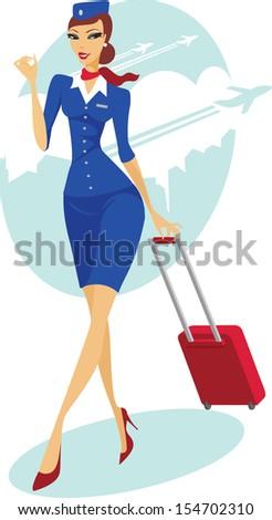 Beautiful young flight attendant  - stock vector