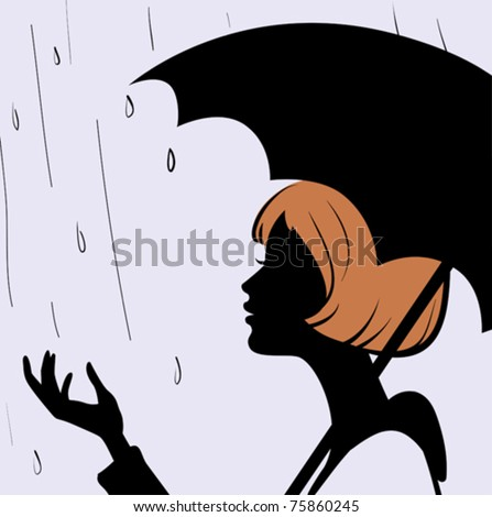 Beautiful young girl face silhouette with black umbrella on rainy day - stock vector