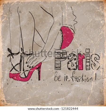 beautiful young girl in Paris . vector illustration - stock vector
