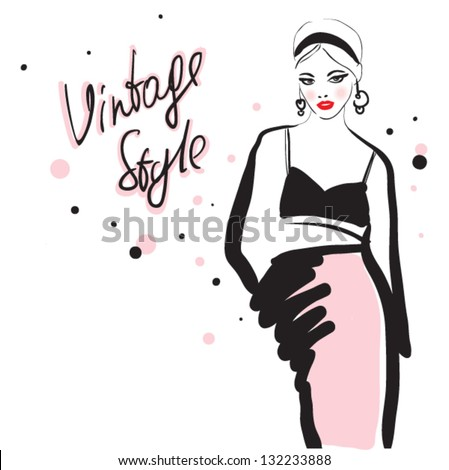 beautiful young girl in sketch-style. - stock vector