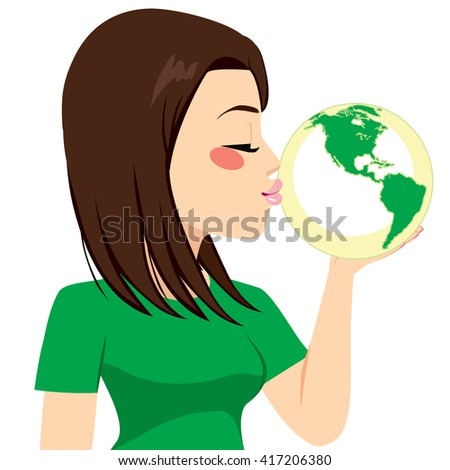 Beautiful young girl kissing green earth globe for recycling concept - stock vector