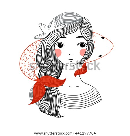 Beautiful young girl sailor and the Japanese carp . Starfish in the hair. Hand drawing isolated objects on white background. Vector illustration.
