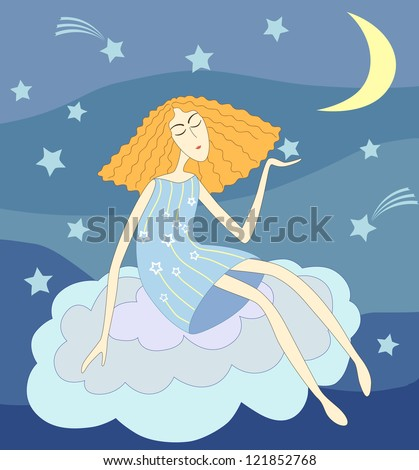 Beautiful young lady sitting on a cloud in the night holding a star in her hand - stock vector