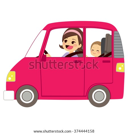 Beautiful young mom driving pink car with baby on back seat of vehicle - stock vector