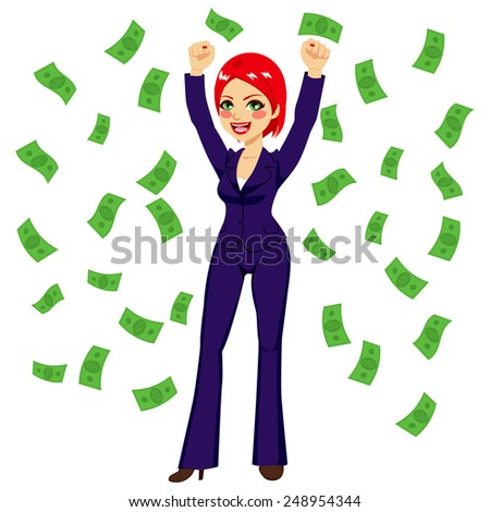 Beautiful young successful red haired rich businesswoman under falling money rain shower - stock vector