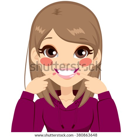 Beautiful young teenager happy girl smiling showing her pretty white smile pointing fingers at mouth - stock vector