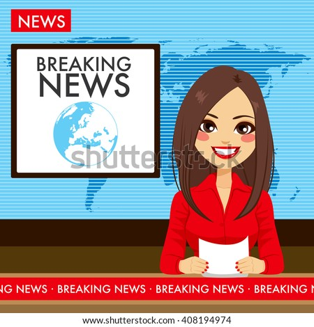 Beautiful young tv newscaster woman reporting tv news sitting in a studio - stock vector