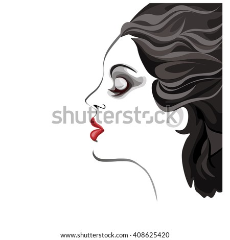 beautiful young woman black and white image, profile of calm lovely girl, attractive lady with fluttered hair and red lips - stock vector