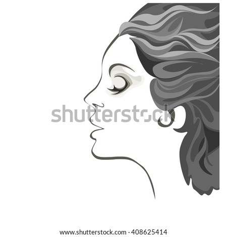 beautiful young woman black, gray and white image, profile of calm lovely girl, attractive lady with fluttered hair - stock vector