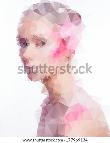 Beautiful young woman consisted of  triangles. - stock vector