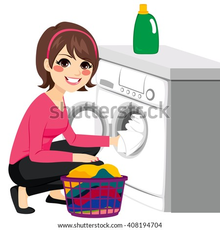 Beautiful young woman doing laundry putting dirty clothes on washing machine from basket