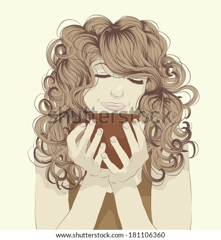 Beautiful young woman enjoying a cup of coffee - stock vector