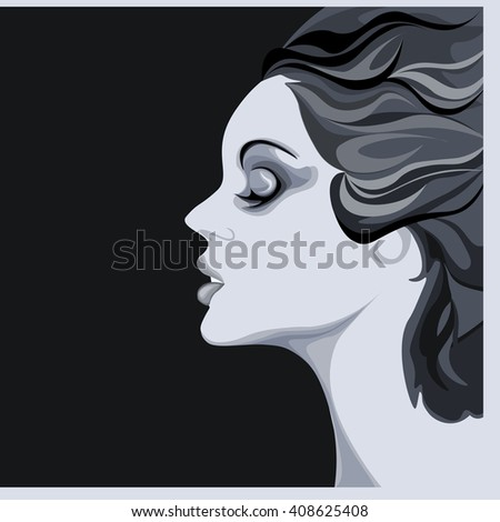 beautiful young woman image on black background, calm lovely girl, attractive lady with fluttered hair - stock vector