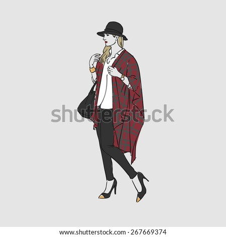 Beautiful young woman in a fashion poncho and hat with bag. Vector illustration - stock vector
