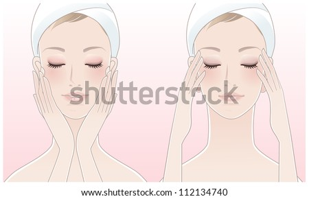 Beautiful young woman pressing temples. Touching her face after beauty treatment. Skin care. Relaxation. Young skin. Facial treatment.  Clipping mask is used in the EPS file. - stock vector