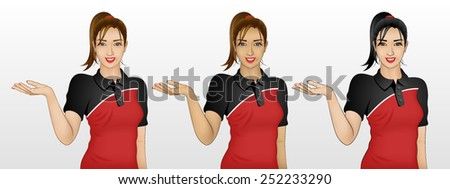 beautiful young woman showing something, or could be welcome gesture, wearing polo t-shirt, in 3 different skin and hair color - stock vector