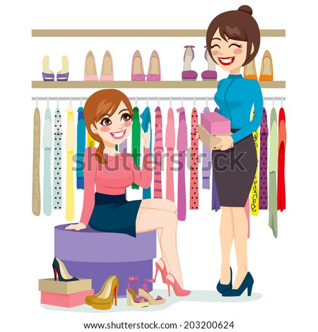Beautiful young woman trying and shopping different shoes with help from shoe store assistant - stock vector