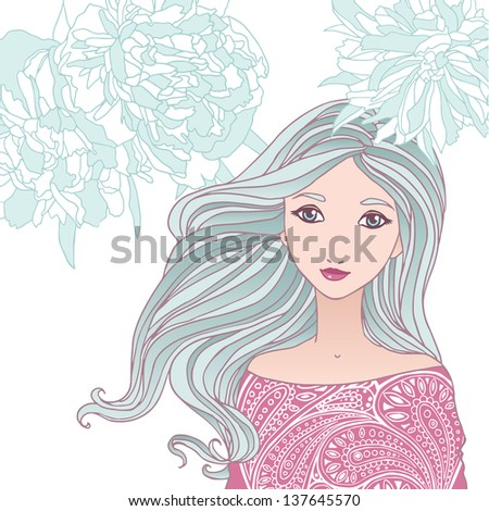 Beautiful young woman vector illustration. - stock vector