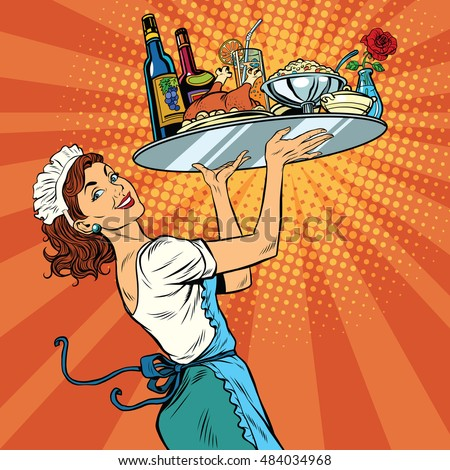 Beautiful young woman waitress in a restaurant, pop art retro vector illustration. Tray holiday dinner