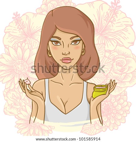Beautiful young woman with a face cream on ornate floral background