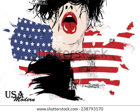 beautiful young woman with national usa flag in background - stock vector