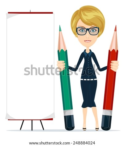 Beautiful young woman writing on copy space with pencil. Isolated on white. Stock Vector illustration - stock vector