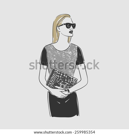 Beautiful young women in a fashion dark dress and glasses. Vector illustration - stock vector
