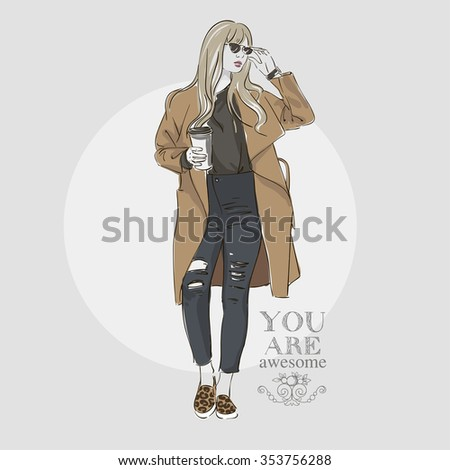 Beautiful young  women in a fashion pink jacket in cap and knitted sweater. Vector hand drawn illustration. - stock vector