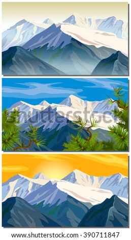 Beautifull cloudy sunrise in the mountains with snow ridge. scenic mountain landscape. Alaska. set panorama vector illustration of mountain ridges