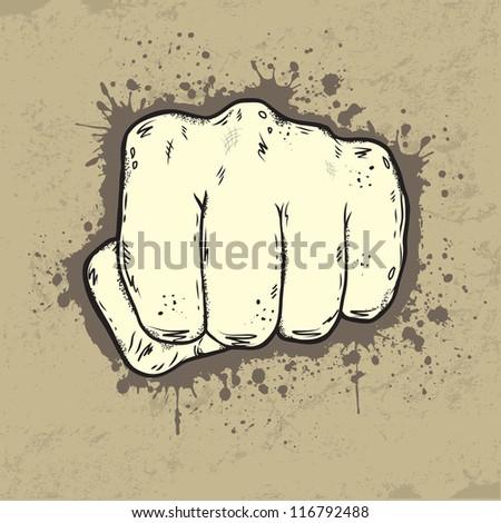 Beautifull illustration of fist in grunge style - stock vector