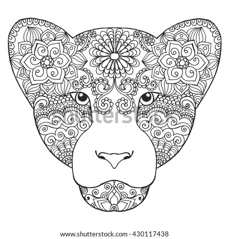 Cat coloring book adults vector illustration stock vector for Lioness coloring pages