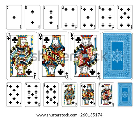 Beautifully crafted new original playing card deck design.  Bridge size Club playing cards plus playing card back - stock vector