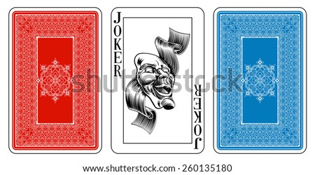 Beautifully crafted new original playing card deck design.  Bridge size Joker playing card plus playing card back - stock vector