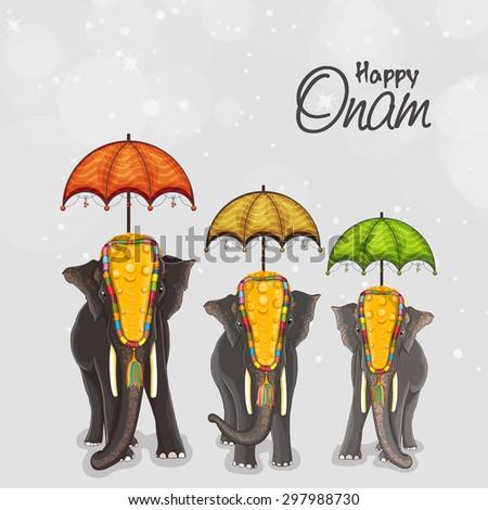 Beautifully decorated elephants with umbrella on shiny grey background for South Indian festival, Happy Onam celebration. - stock vector