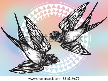 Beautifully Detailed Vintage Illustration With Flying Swallow Birds Over Tribal Geometric Pattern Vector Artwork Isolated
