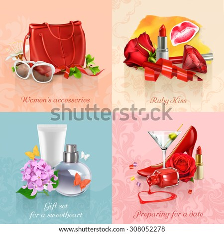 Beauty and cosmetics set of concepts vector backgrounds - stock vector