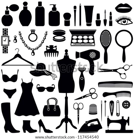 Beauty and Fashion collection - vector silhouette - stock vector