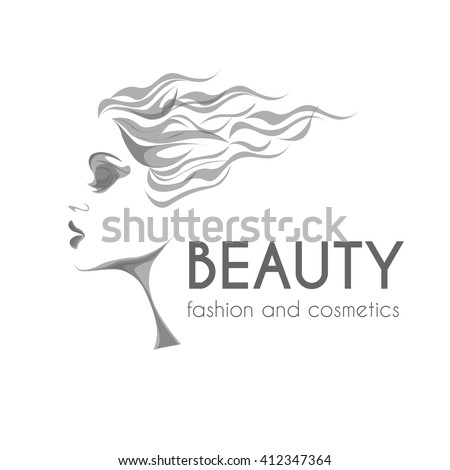 beauty and fashion logo, young woman black and white sketch image, calm lovely girls face, attractive lady with fluttered hair - stock vector