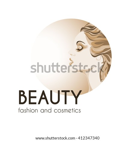 beauty and fashion logo, young woman image in the circle, calm lovely girls face, attractive lady with fluttered hair - stock vector