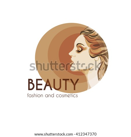 beauty and fashion logo, young woman image in warm shades, calm lovely girls face, attractive lady with fluttered hair - stock vector