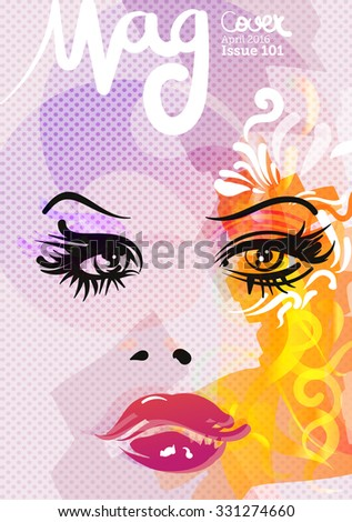 Beauty and fashion magazine cover, vector illustration  - stock vector