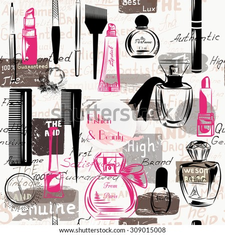 Beauty and fashion seamless pattern from silhouettes of cosmetics make up artists objects lipstick, nail, perfumes grunge style - stock vector