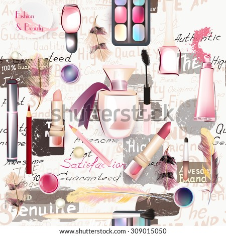 Beauty and fashion seamless pattern from vector watercolor cosmetics make up artists objects lipstick, nail, perfumes, eye shadows grunge style - stock vector