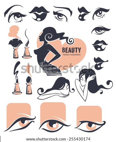 beauty and makeup collection - stock vector