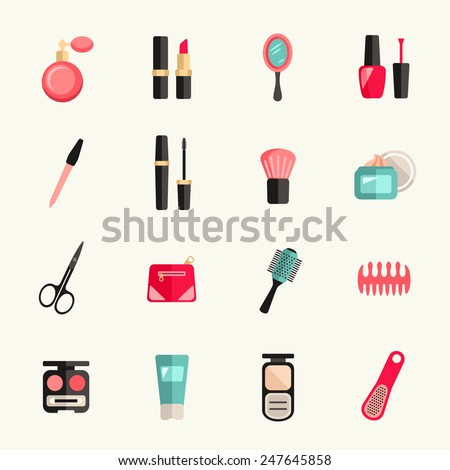 Beauty and makeup icon set - stock vector