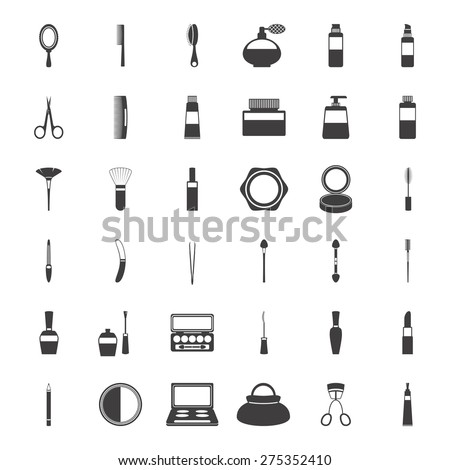 Beauty and makeup icons, isolated on white background