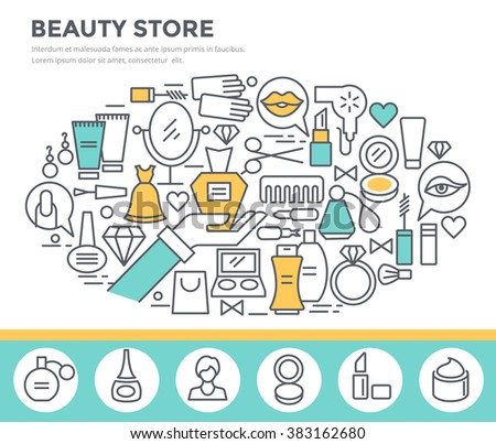 Beauty and shopping concept illustration, thin line flat design - stock vector